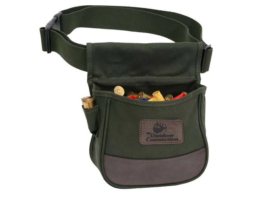 The Outdoor Connection Shotshell Pouch with Belt Canvas and Leather Green/Brown
