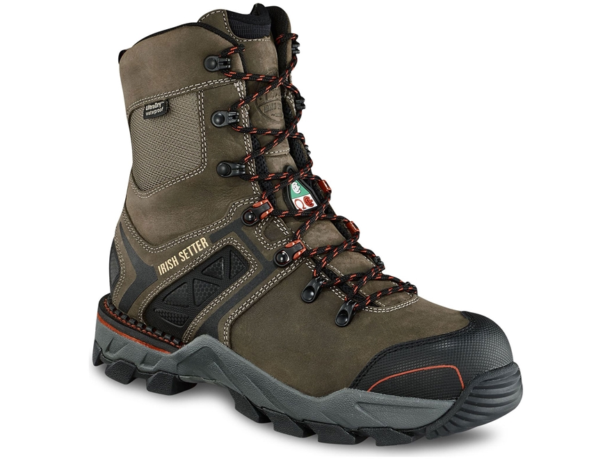 "Irish Setter Crosby 8"" Waterproof Puncture-Resistant Non-Metallic Safety Toe Work Boots..."