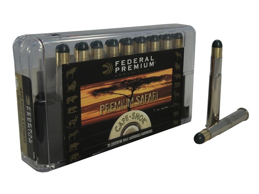 Federal Premium Cape-Shok Ammunition 470 Nitro Express 500 Grain Woodleigh Hydrostatica...