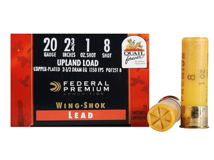 "Federal Premium Wing-Shok Quail Forever Ammunition 20 Gauge 2-3/4"" 1 oz #8 High Velocit..."