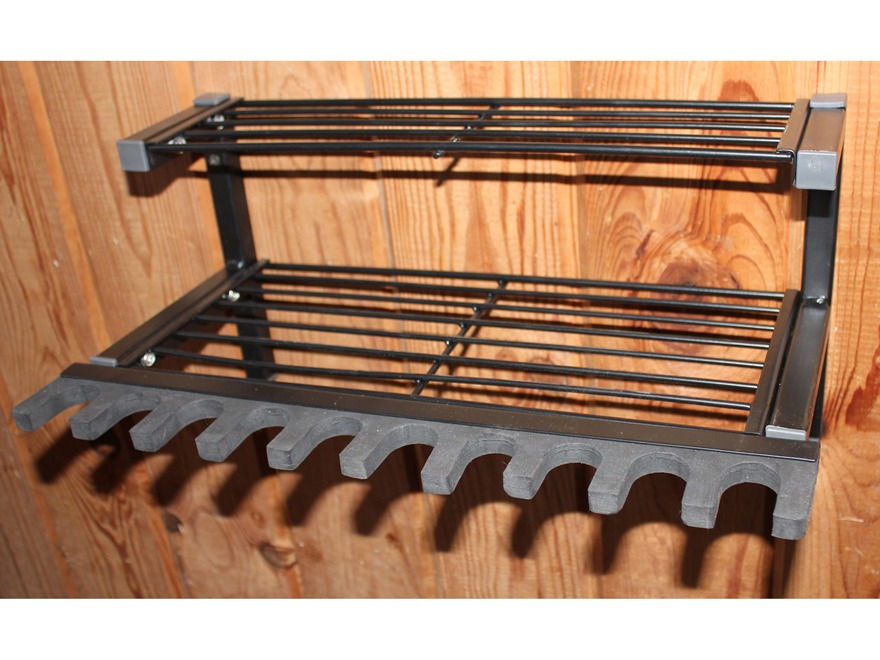 HySkore 10 Gun Rack and Shelf Unit Metal Frame with Foam Padding Black Frame