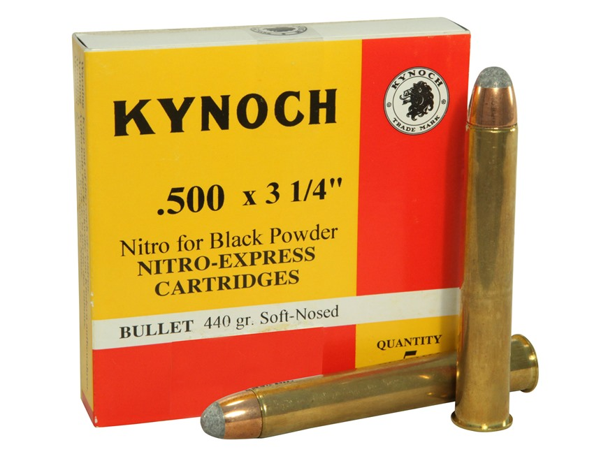 "Kynoch Ammunition 500 Black Powder Express 3-1/4"" 440 Grain Woodleigh Weldcore Soft Poi..."