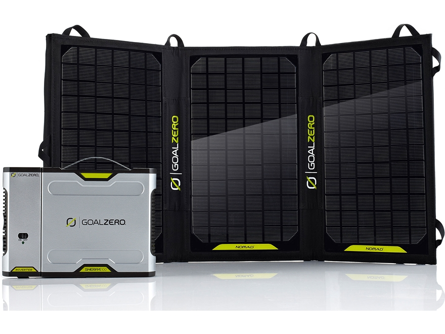 GoalZero Sherpa 100 Solar Recharging Kit with Nomad 20 and 110 Volt Inverter