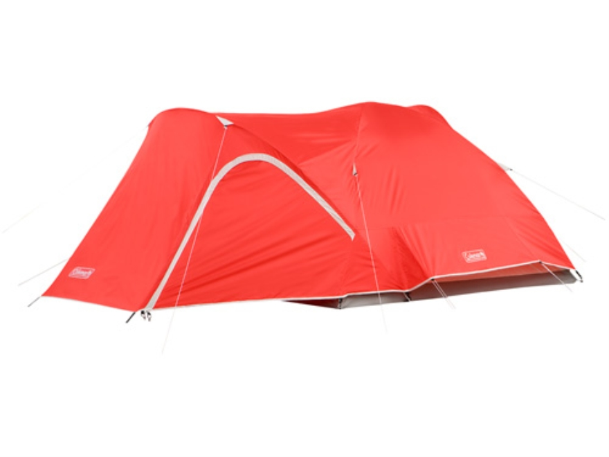 "Coleman Hooligan 4 Man Dome Tent 108"" x 84"" x 59"" Polyester Red and White"