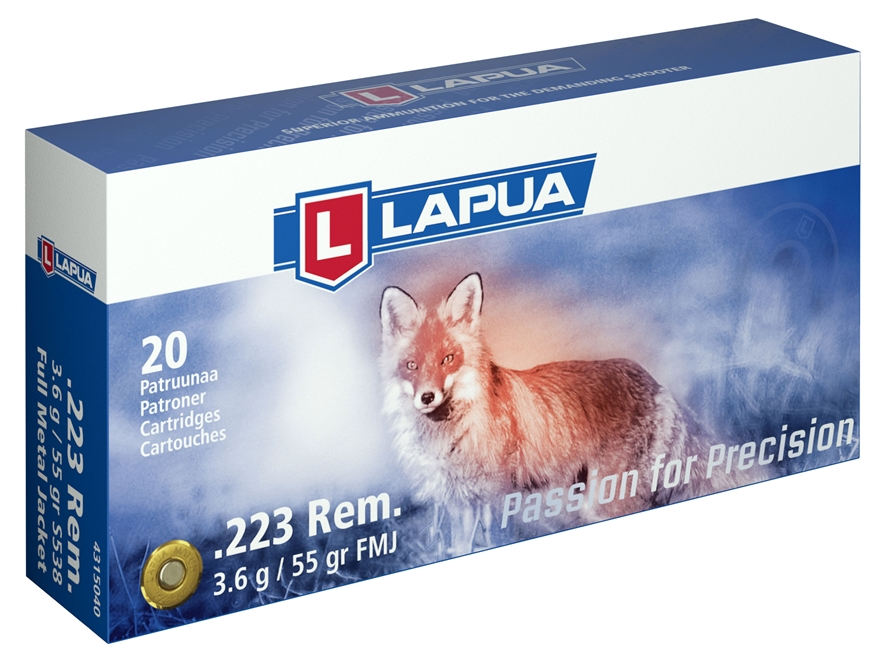 Lapua Ammunition 223 Remington 55 Grain Full Metal Jacket Box of 20