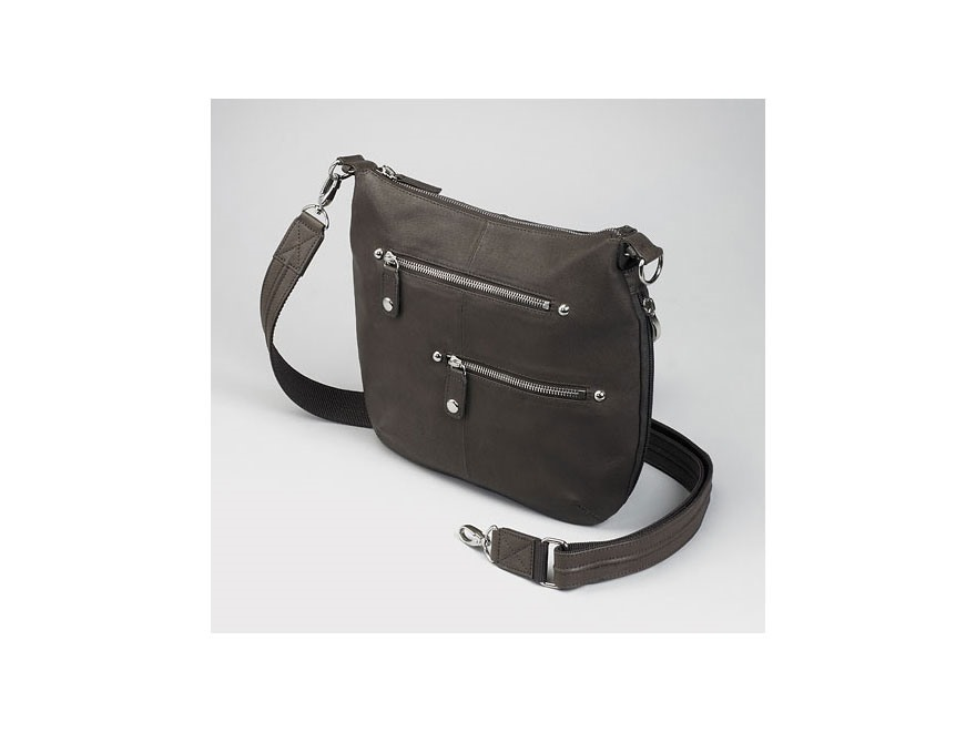 Gun Tote'N Mamas Chrome Zip Handbag Leather Brown