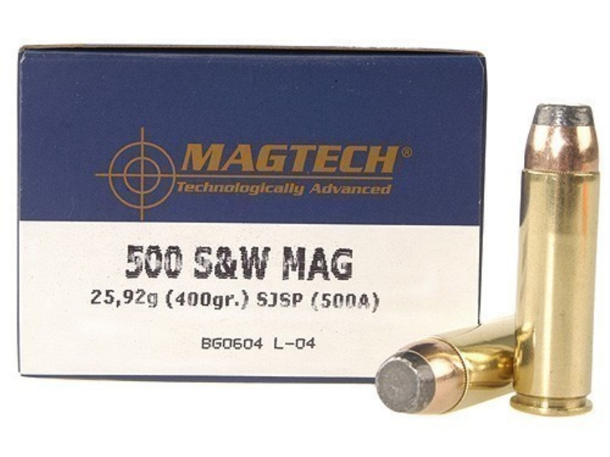 Magtech Sport Ammunition 500 S&W Magnum 400 Grain Semi-Jacketed Soft Point Box of 20
