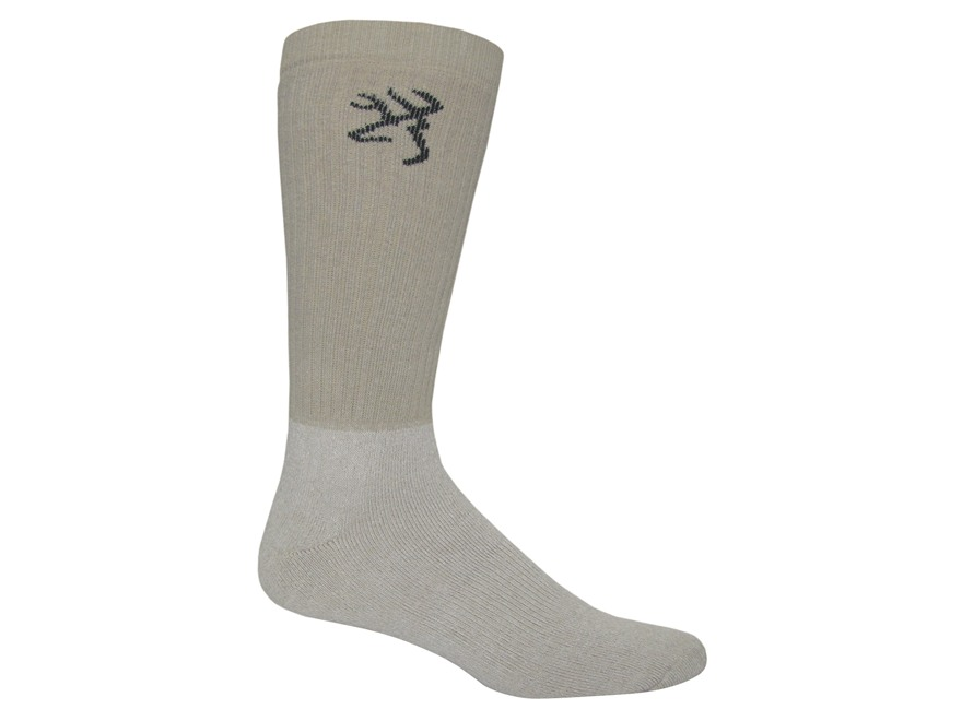 Browning Men's Midweight Scent Eliminating OTC Socks Cotton Blend Taupe Large 9-13