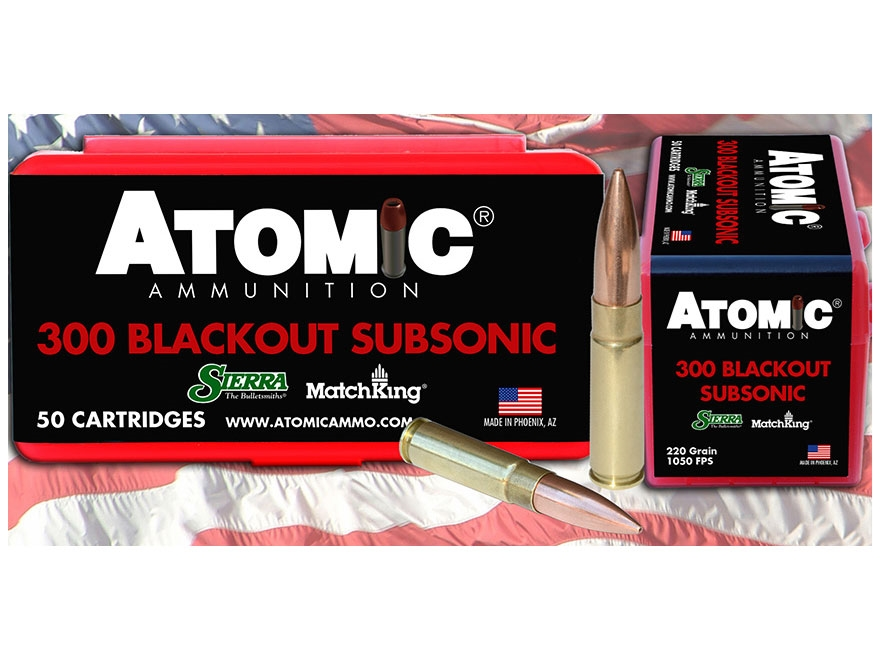 Atomic Ammunition 300 AAC Blackout Subsonic 220 Grain Sierra MatchKing Hollow Point Boa...
