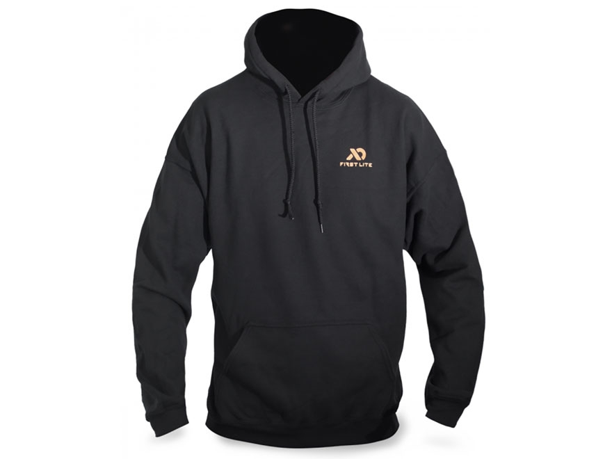 First Lite Men's Crest Hooded Sweatshirt Cotton Black