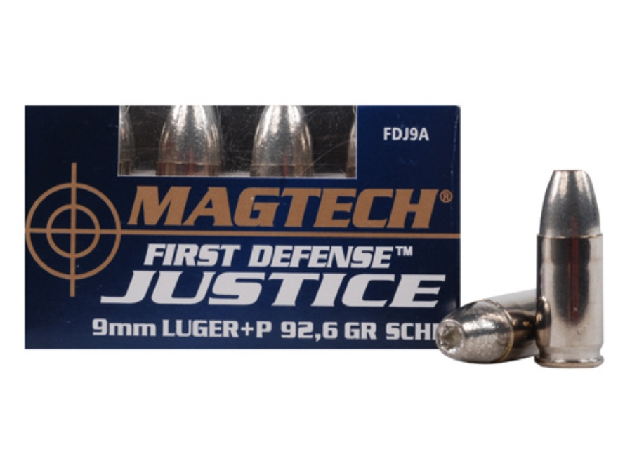 Magtech First Defense Justice Ammunition 9mm Luger +P 92.6 Grain Solid Copper Hollow Po...