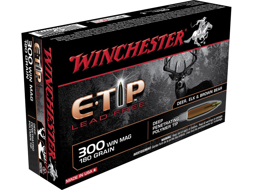 Winchester E-Tip Ammunition 300 Winchester Magnum 180 Grain Lead-Free Polymer Tip