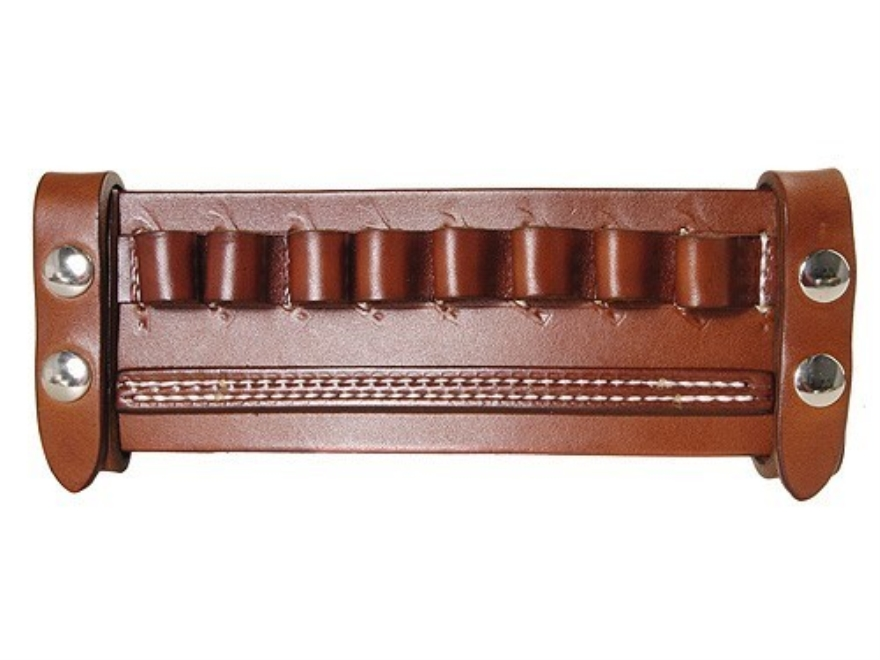Van Horn Leather Belt Slide Shotshell Ammunition Carrier 8-Round 12 Gauge Leather Chestnut