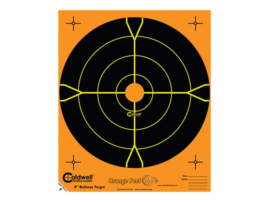 "Caldwell Orange Peel Targets 8"" Self-Adhesive Bullseye Pack of 25 Factory Second"