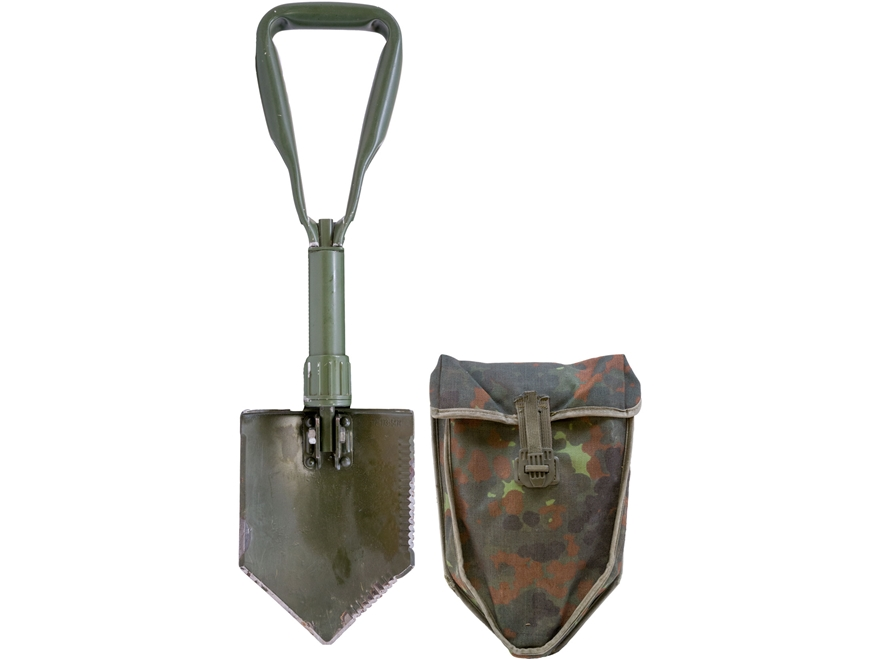 Military Surplus German Entrenching Tool with Flecktarn Carrier
