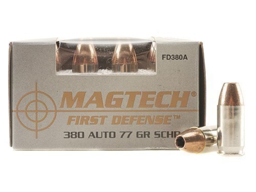 Magtech First Defense Ammunition 380 ACP 77 Grain Solid Copper Hollow Point Lead-Free B...