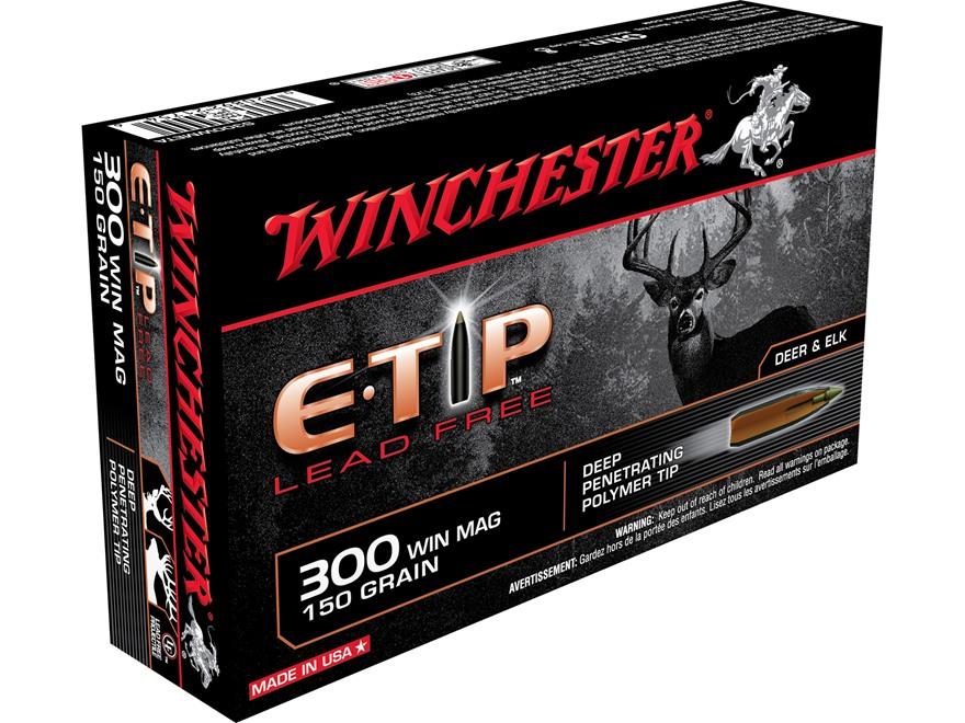 Winchester E-Tip Ammunition 300 Winchester Magnum 150 Grain E-Tip Lead-Free Polymer Tip