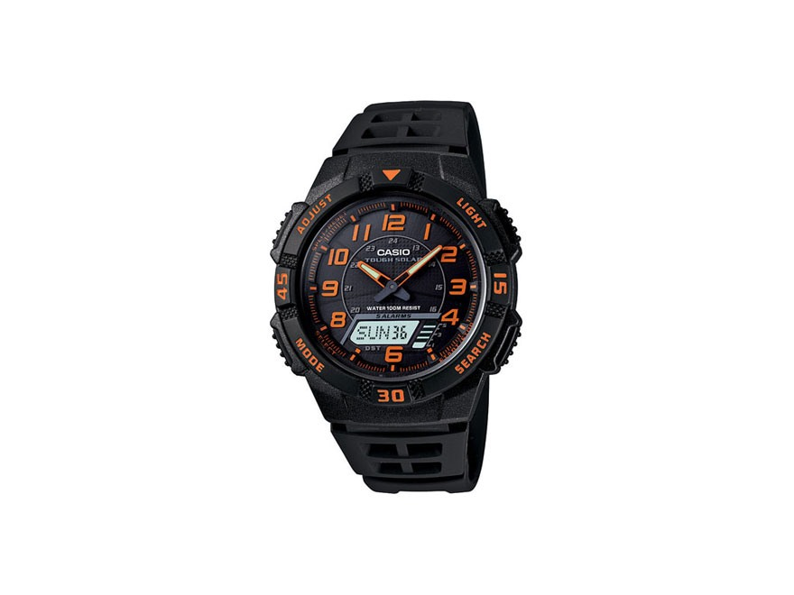 Casio Multi-Function Digital and Analog Solar Watch Resin Band Black and Orange