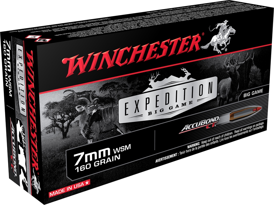 Winchester Expedition Big Game Ammunition 7mm Winchester Short Magnum (WSM) 160 Grain N...