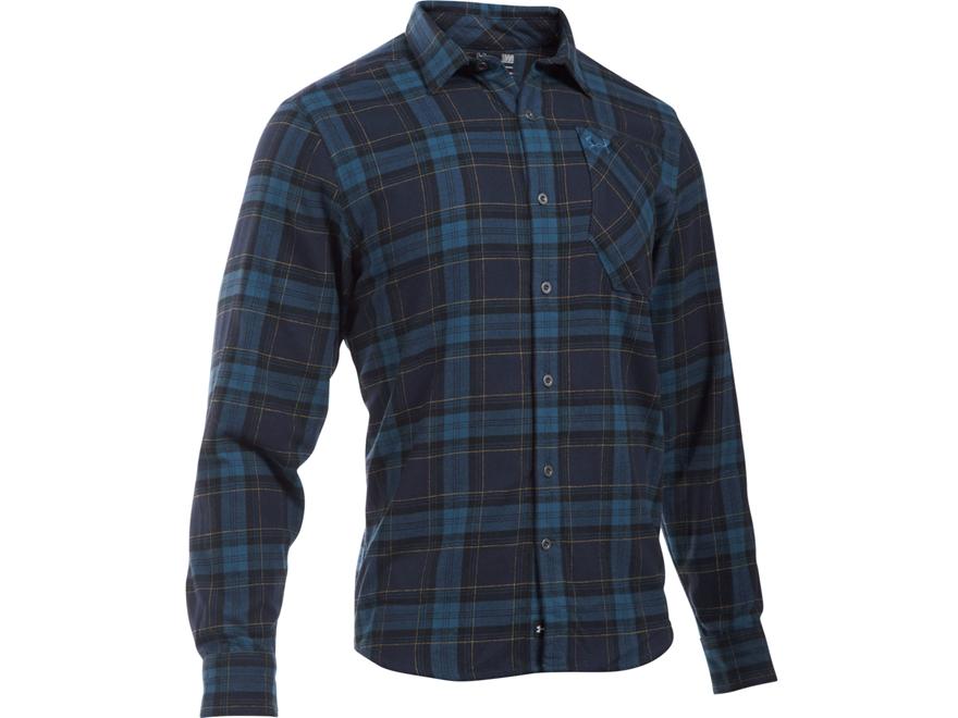 Under Armour Men's UA Borderland Flannel Shirt Long Sleeve Cotton and Polyester Deep Se...
