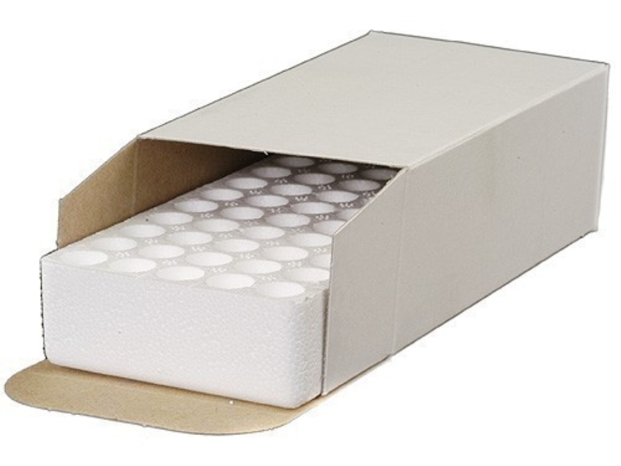 MidwayUSA Ammo Box with Styrofoam Tray 25 ACP, 380 ACP, 9mm Luger 50-Round Cardboard White