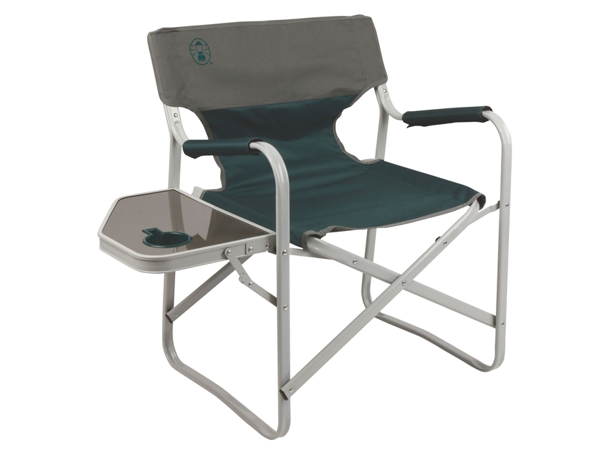 Coleman Outpost Elite Deck Camp Chair Polyester and Steel Gray and Green
