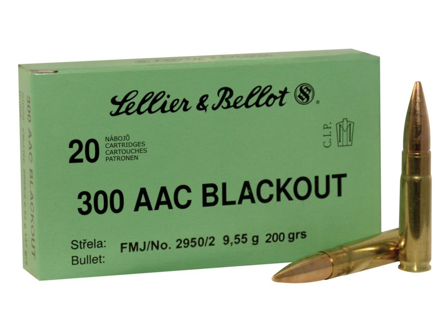 Sellier & Bellot Ammunition 300 AAC Blackout Subsonic 200 Grain Full Metal Jacket