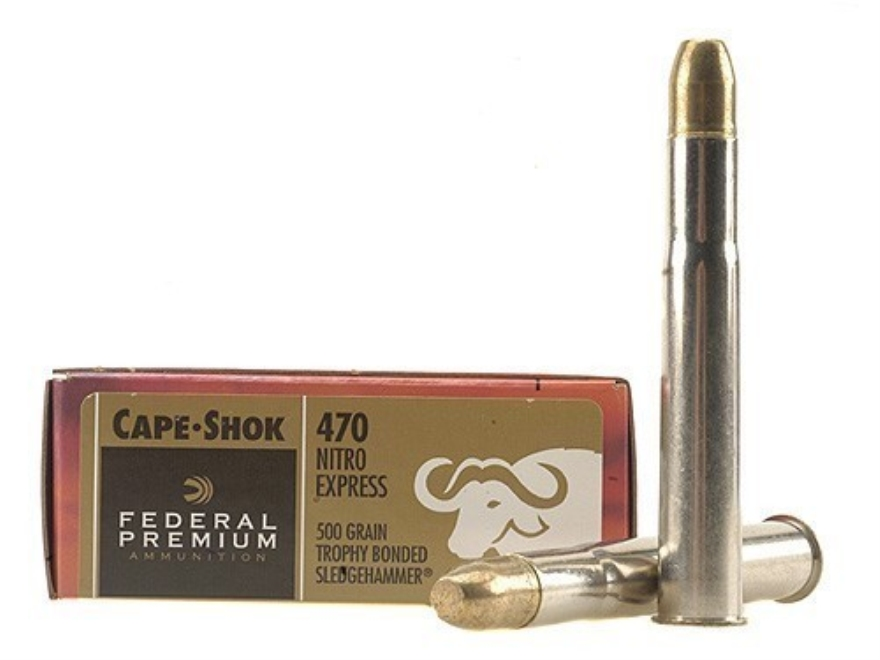 Federal Premium Cape-Shok Ammunition 470 Nitro Express 500 Grain Speer Trophy Bonded Sl...