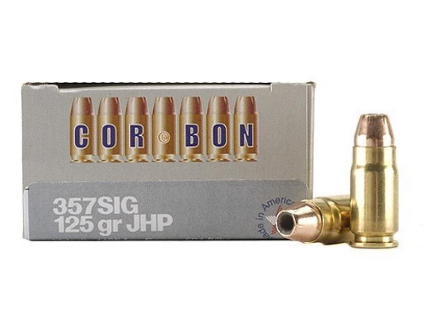 Cor-Bon Self-Defense Ammunition 357 Sig 125 Grain Jacketed Hollow Point Box of 20