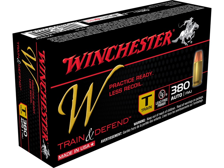 Winchester W Train Reduced Recoil Ammunition 380 ACP 95 Grain Full Metal Jacket Box of 50