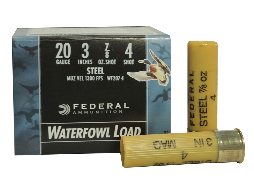 "Federal Speed-Shok Waterfowl Ammunition 20 Gauge 3"" 7/8 oz #4 Non-Toxic Steel Shot"