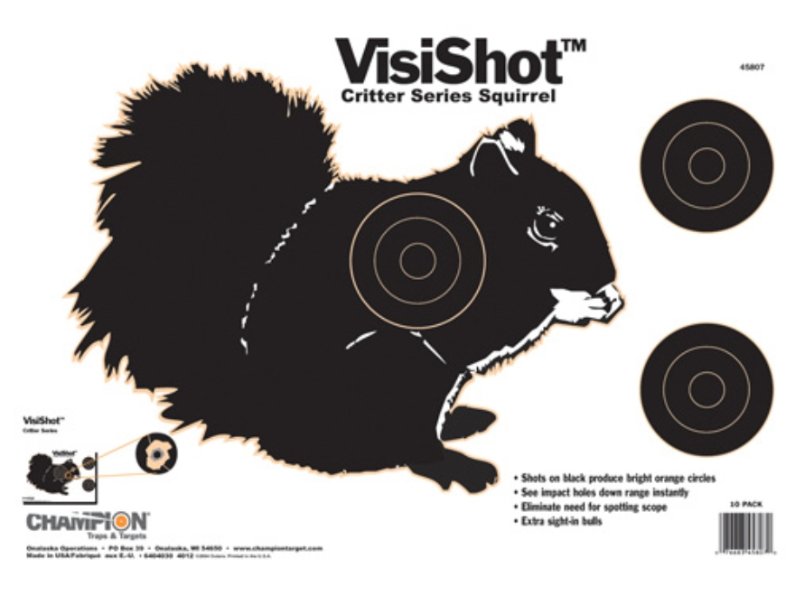 "... VisiShot Critter Series Squirrel Targets 16"" x 11"" Paper Package of 10"