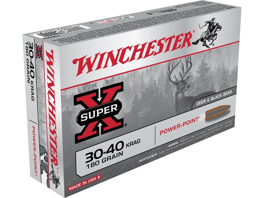 Winchester Super-X Ammunition 30-40 Krag 180 Grain Power-Point