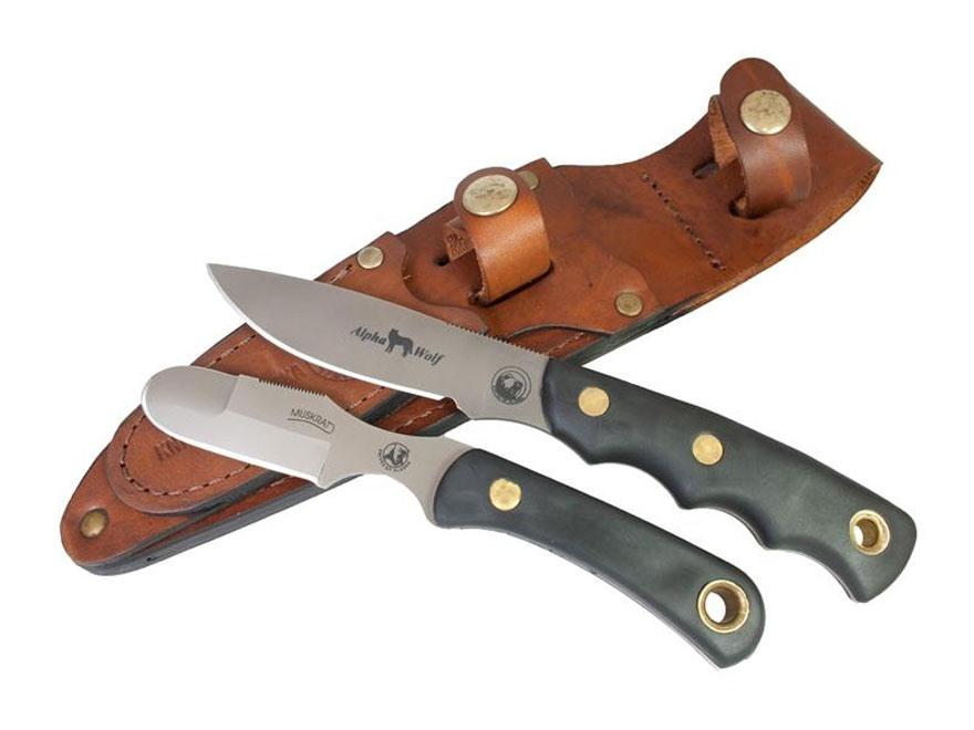 Knives of Alaska Alpha Wolf/Muskrat Combo Fixed Blade Knife S30V/D2 Steel Blades Suregr...
