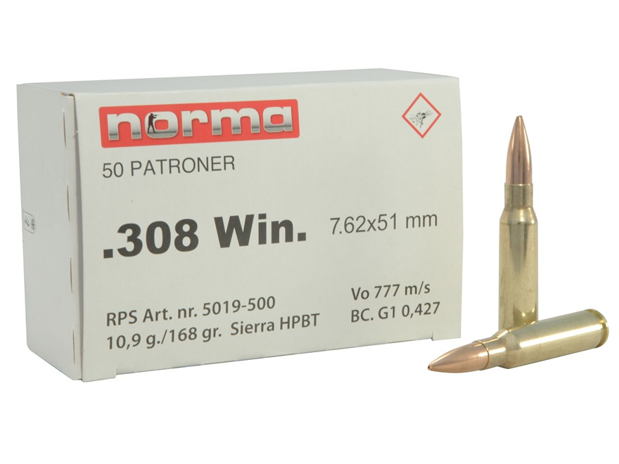 Norma Military Production Ammunition 308 Winchester 168 Grain Sierra MatchKing Hollow P...