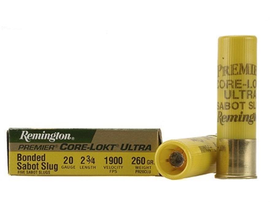 "Remington Premier Ammunition 20 Gauge 2-3/4"" 260 Grain Core-Lokt Ultra Bonded Sabot Slu..."