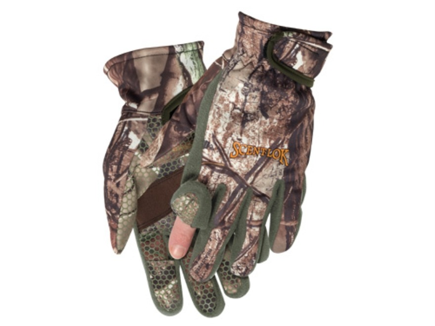 Scent-Lok Bowhunter's Release Gloves Polyester Realtree AP Camo XL