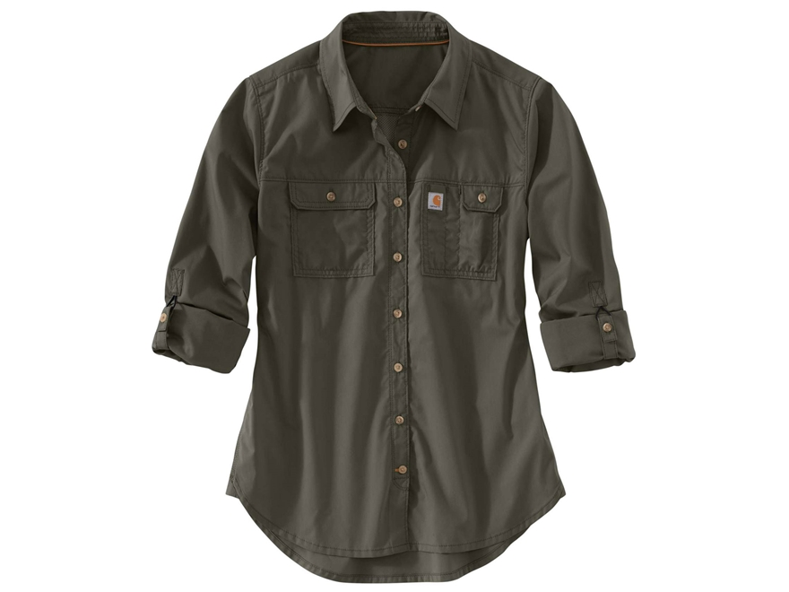 Carhartt Women's Force Ridgefield Button-Up Shirt Long Sleeve Polyester/Cotton