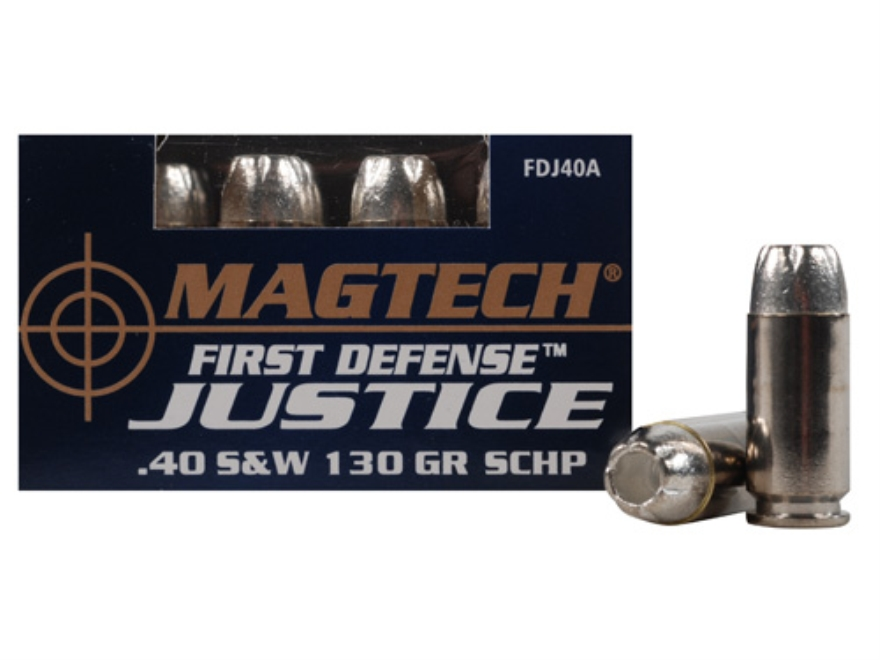 Magtech First Defense Justice Ammunition 40 S&W 130 Grain Solid Copper Hollow Point Lea...