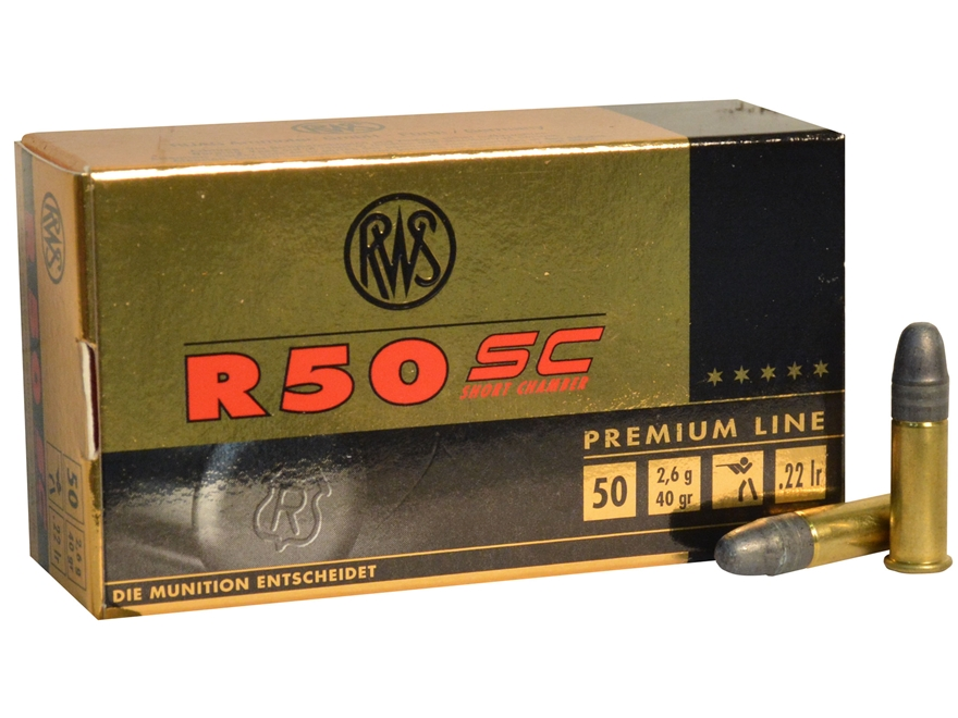 RWS Ammunition R50 SC (Short Chamber) 22 Long Rifle 40 Grain Lead Round Nose