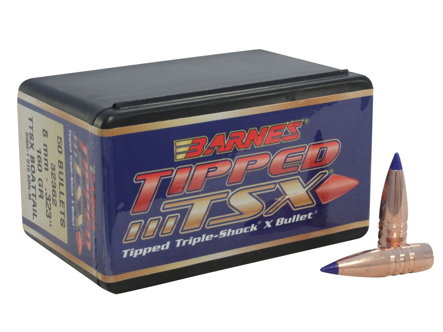 Barnes Tipped Triple-Shock X Bullets 323 Caliber, 8mm (323 Diameter) 160 Grain Boat Tai...