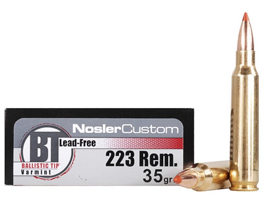 Nosler Trophy Grade Ammunition 223 Remington 35 Grain Ballistic Tip Varmint Lead-Free B...