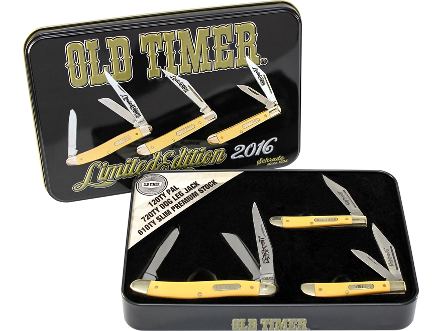 Old Timer 3-Piece Folding Knife Set Stainless Steel Blades Gift Tin