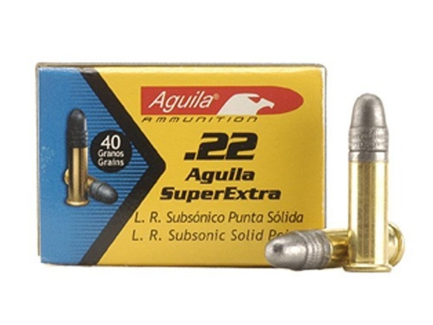 Aguila SuperExtra Ammunition 22 Long Rifle 40 Grain Lead Round Nose Subsonic Box of 50