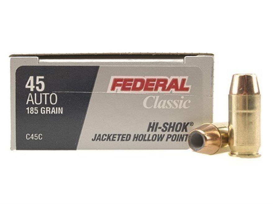 Federal Premium Personal Defense Ammunition 45 ACP 185 Grain Jacketed Hollow Point Box ...