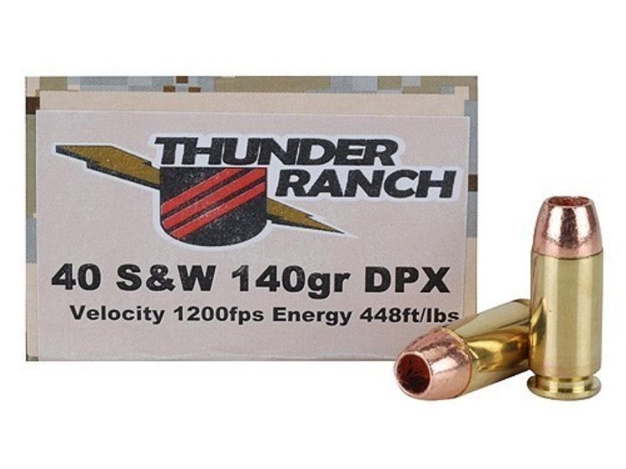 Cor-Bon Thunder Ranch DPX Defensive Ammunition 40 S&W 140 Grain Barnes TAC-XP Hollow Po...