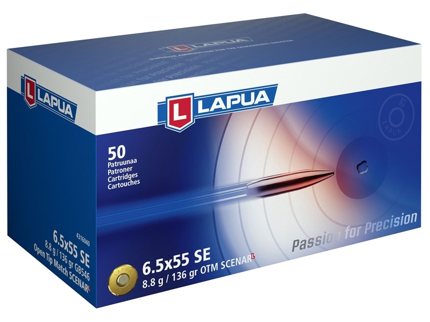 Lapua Scenar-L Ammunition 6.5x55mm Swedish Mauser 136 Grain Hollow Point Boat Tail Box ...