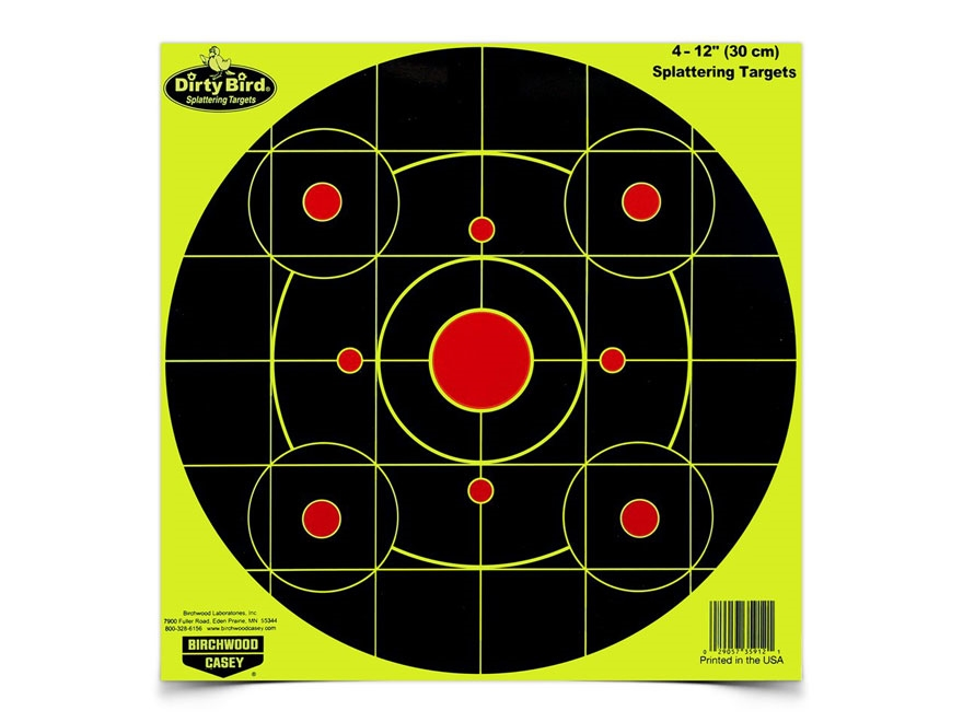 "Birchwood Casey Dirty Bird Yellow 12"" Bullseye Targets Pack of 25"