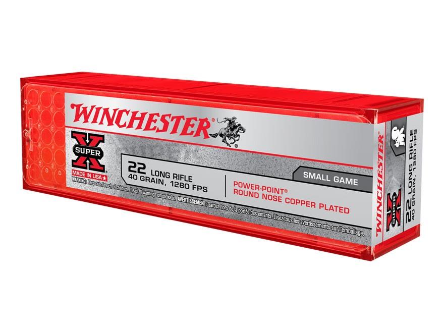 Winchester Super-X High Velocity Ammunition 22 Long Rifle 40 Grain Lead Hollow Point Po...