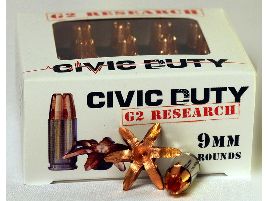 G2 Research Civic Duty Ammunition 9mm Luger 94 Grain Expanding Solid Copper Lead-Free B...